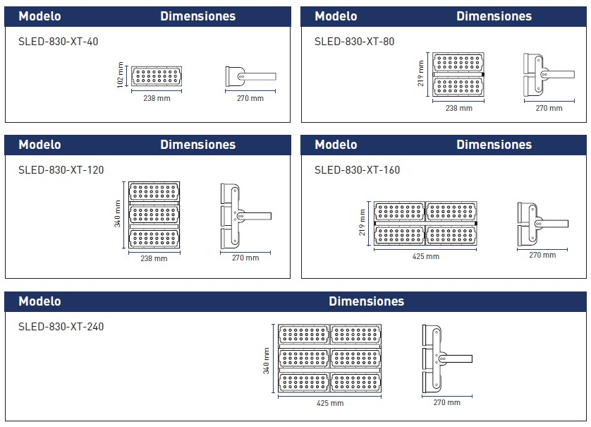DimensionesSLED-830-XT-MX