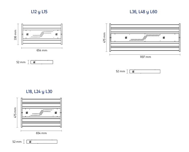Medidas modelos HB5 luminaria LED - SUPRA DESARROLLOS